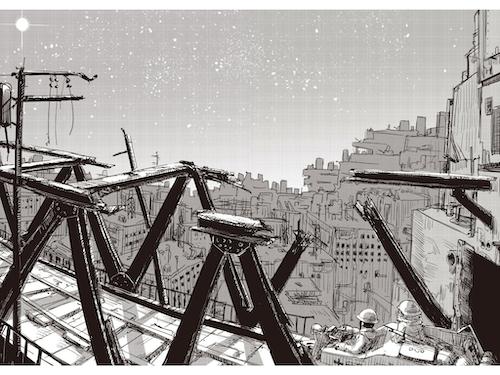 荒廃した都市を見下ろすチトとユーリの画像