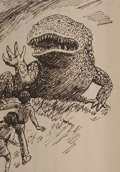 二分間の望遠挿絵:悟とかおりが竜に立ち向かう
